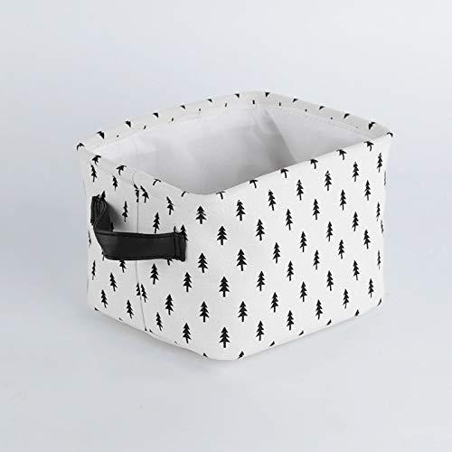 MRBJC Cesta de almacenamiento de tela plegable con asas, para guardar ropa, juguetes, guardarropa, caja de aperitivos y artículos de escritorio blanco 20 x 16 x 14 cm