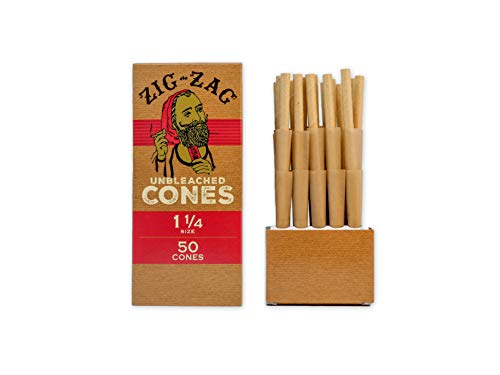 Zig Zag 1 ¼ Rolling Papers Pre Rolled Cones 50-75-100 Pack - Natural Unbleached Bulk Cones with Tips - Prerolled Rolling Paper Cone Pack - Pre Roll Cones for Filling - Easy to Use and Convenient (50)