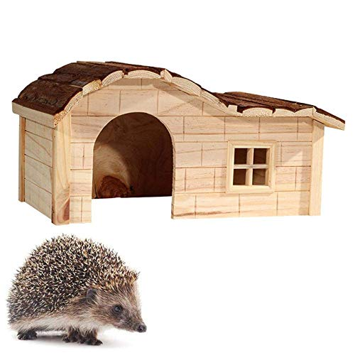 Hedgehog Houses for Garden Waterproof, Wooden Shelter Box Hedgehog Feeding Station Hibernation Shelter Hand Carved Curved Roof Small Animal House Hedgehog Box Outdoor Cat House Summer Win.