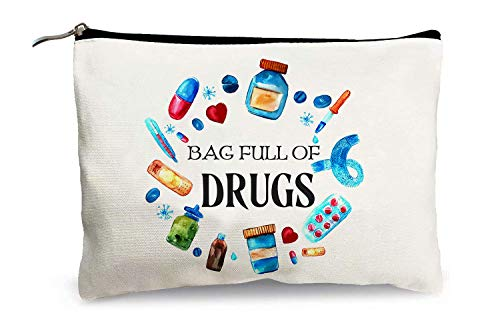 Funny Pill Makeup Bags for Women - Bag Full of Drugs - Medicine Storage Bag Cotton Zipper Travel Cosmetic Bags Multifunction Pouch Toiletry Case for Girls Friends Mom Sister Daughter Birthday Gifts
