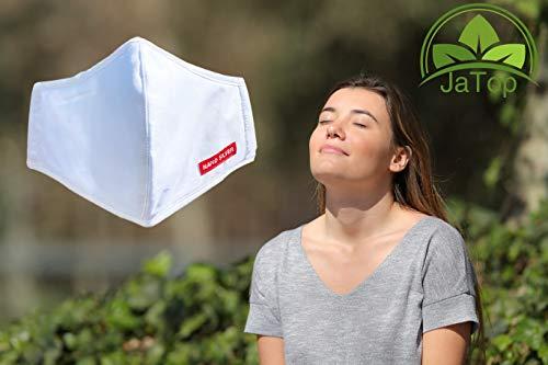 JaTop Mund-und Nasen-Maske waschbar 60 Grad aus Baumwolle dreilagig Nano-Technologie