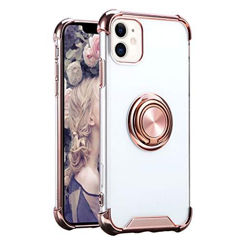 Funda de teléfono móvil compatible con Apple iPhone 11, funda transparente de silicona TPU Case con anillo de 360 grados de soporte, soporte magnético para coche, resistente a los golpes (oro rosa)