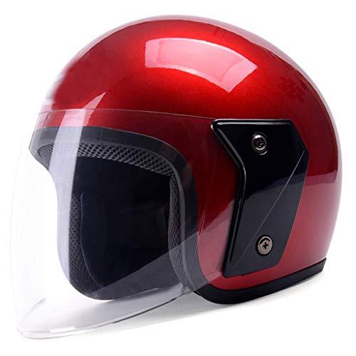 YINUO-Casque Batterie électrique moto casque hommes et femmes modèles quatre saisons automne léger et hiver chaud casque universel (Color : RED)