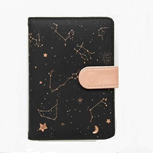 Notebooks 2453 creativo Constelación planificador portátiles Suministros Kawaii Álbum de recortes cubierta suave Cuadernos agenda escolar Oficina (negro) (Color : Negro)