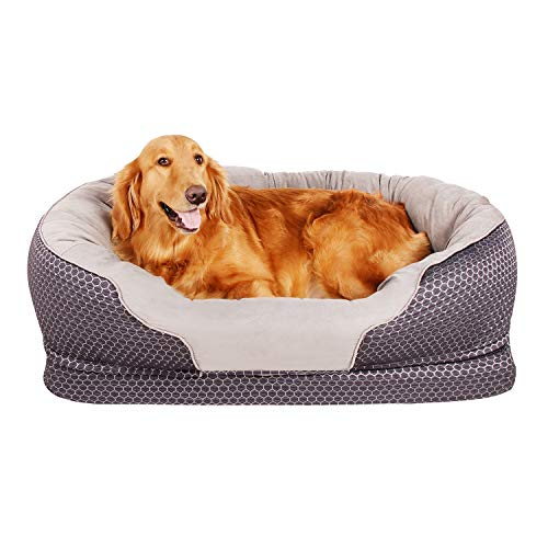AsFrost Dog Bed, Orthopedic Dog Beds with Removable Washable Cover, Memory Foam Pet Bed for Dogs Cats, Nonslip Bottom Pet Beds for Sleep - Dark Blue (Large - 38'' x 30'')
