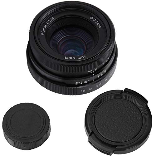 Obiettivo grandangolare Obiettivo Fotocamera 25mm F1.8 Mini CCTV C Mount Lens Obiettivo grandangolare Obiettivo Telecamera CCTV Obiettivo di Montaggio 16mm C per Sony Nikon Canon DSLR(Blcak)