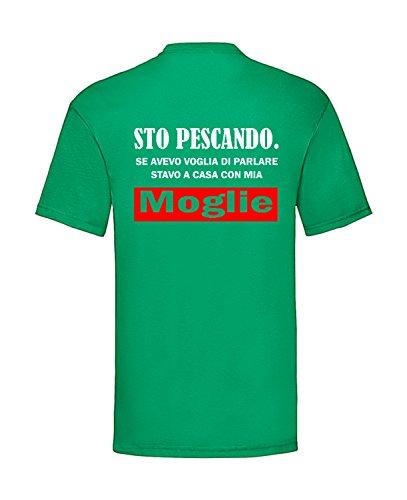 Sorrydenti t-Shirt Maglietta Uomo STO PESCANDO. SE Avevo Voglia di Parlare STAVO A CASA con MIA Moglie Stampa Schiena Hobby Pesca (Verde, XXL)