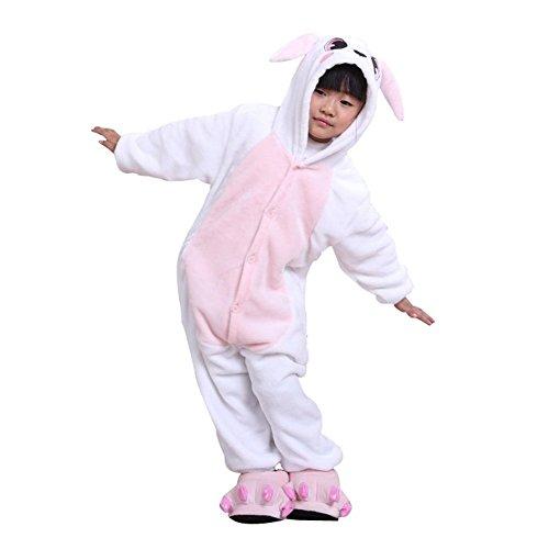 ABYED® Einhorn Kostüm Jumpsuit Onesie Tier Fasching Karneval Halloween kostüm Damen mädchen Herren Kinder Unisex Cosplay Schlafanzug, Hase, Größe 125 - für Höhe: 136-145 cm (9-11 Jahre)