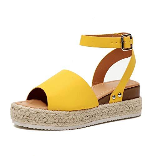 Sandalias Mujer Plataformas Verano Cuña Piel 5 CM Tacon Punta Abierta Plana Tobillo Zapato De Playa Moda Fiesta Amarillo 40