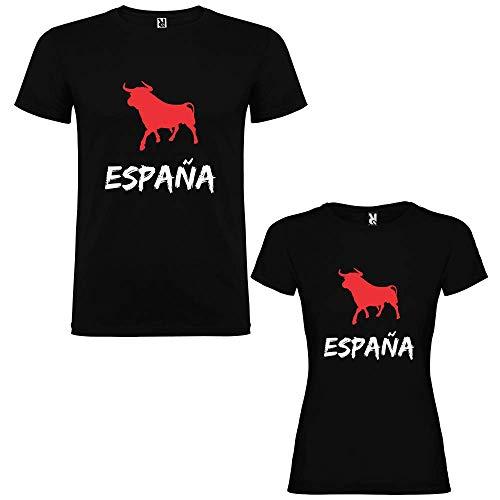 Dalim Pack de 2 Camisetas Negras para Parejas Toro España (