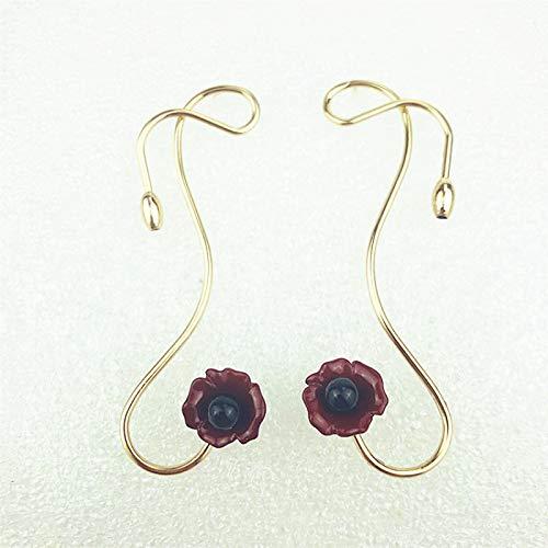 LIEQUAN Ovale Kettenohrringe einfache Retro übertriebene Ohrringe weibliche Modelle beliebte Persönlichkeit übertriebene Ohrringe(Roségold)
