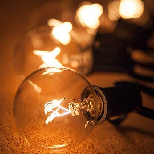 BaoST Lichterkette Außen Strombetrieben Glühbirnen G40 7.63m 25er Birnen Warmweiß Outdoor Wasserdichte Lichterketten für Innen Draussen, Party, Festival (25 Glühbirnen)