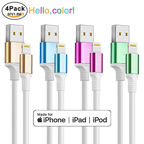 Miger [MFi Certified ] Charging Cable,4Pack 6Ft/1.8m A to USB Cable & Sync Charge Data Cable Compatible with iPhone X,8,8Plus,7,7Plus,6S,6Plus,SE,5S,5,iPad,iPod Nano 7