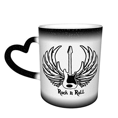 Hand in Rock N Roll Sign Taza que cambia de color Gran diseño de taza de café Taza de cerámica sensible al calor, 11oz-8A