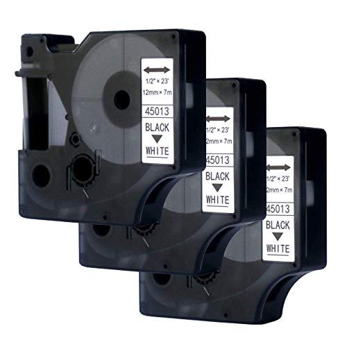 3x Dymo D1 Schriftband Etikettenband 45013 S0720530 für Dymo 12mm x 7m Schwarz auf Weiß, kompatibel mit Dymo LabelPOINT & LabelManager LM160/LM210D/LM260P/LM280/LM360D/LM420P, von N.MAX