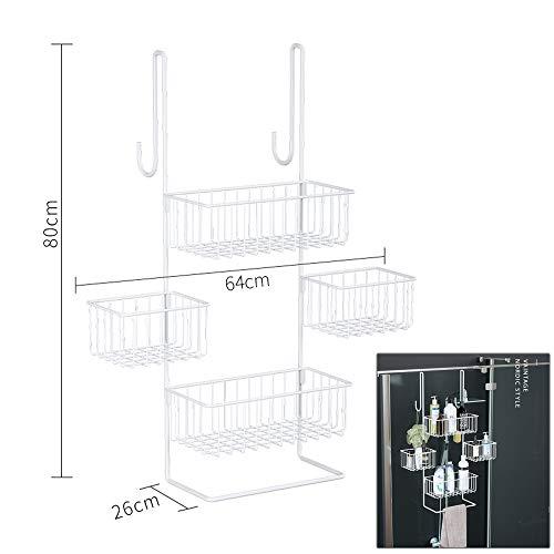 Wing doucheplank om op te hangen aan de deur, douchemand om op te hangen, doucherek zonder boren, badmand van metaal met 4 manden en 2 haken