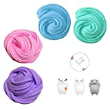 TIME4DEALS Fluffy Slime Grande Kit Slum Jumbo Floam 4-Pack per Bambini Adolescenti Adulti per Il Sollievo dallo Stress, Esercizi di Mani e Dita (3 Pezzi di Giocattolo Squishy Cat Incluso)