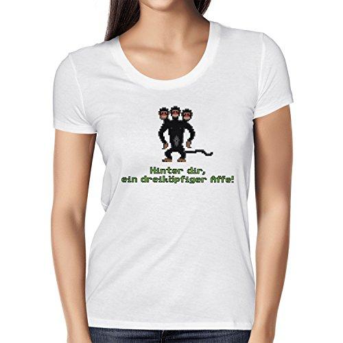 NERDO - Dreiköpfiger AFFE - Damen T-Shirt, Größe M, weiß
