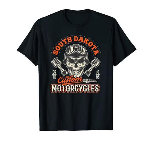 South Dakota Custom Motorcycles Hog Riders Skull Graphic Camiseta