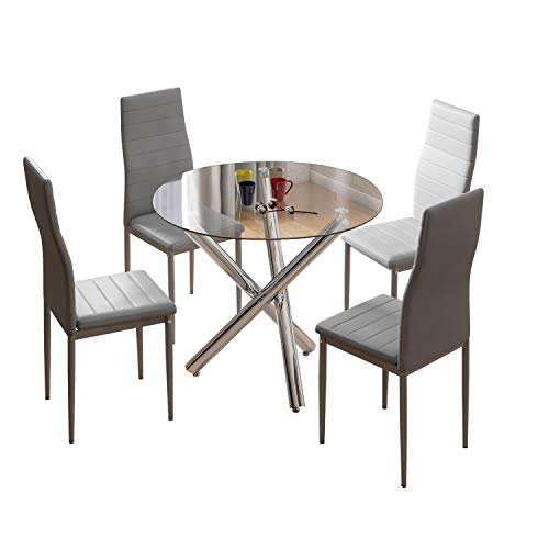 Jooli H Dining Table and Chairs Set 4, Round Table and 4 Faux Leather Foam High Back Padded Chairs Modern Furniture Sets for Dining Room, Kitchen, Office, Lounge