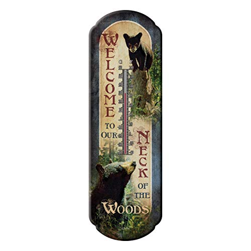 River's Edge Products Tin Thermometer - Bear Welcome