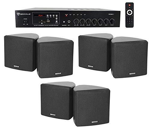 Rockville Commercial Restaurant Bluetooth Amplifier+(6) 3.5' Black Cube Speakers
