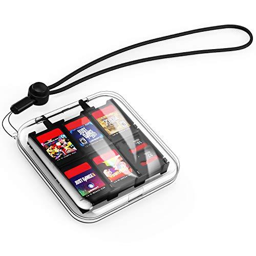 MoKo Kompatibel mit Nintendo Switch Spiel Aufbewahrungsbox Schutzhülle Game Case Transparent Storage Box für 12 Nintendo Switch Spiel mit Schlüsselband