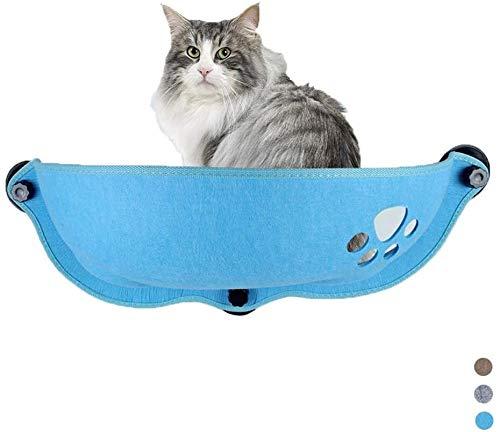 Leilims Cat venster Perch, Wand- Cat Hammock Zitting Felt Cat Nest Bed leunstoel met zuignap Geschikt voor katten tot 8 kg, blauw, blauw