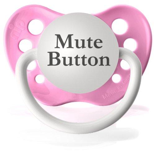 Personalized Mute Button Pacifier Paci Binky (Pink)