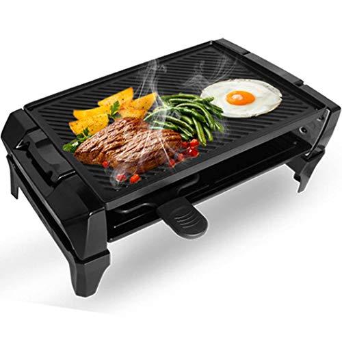 DSHBB Draagbare elektrische grill, Koreaanse grill, hot pot, met 2 mini-pannen, rookvrije elektrische bakpan, met anti-aanbaklaag, zwart