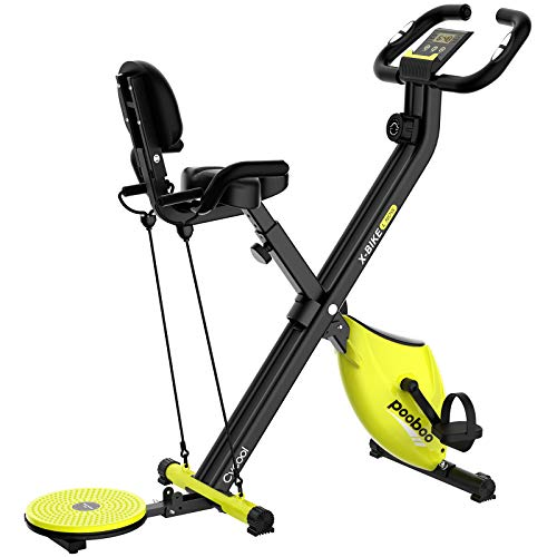 pooboo Foldable Exercise Bike 3 in 1 Mangetic Indoor Cycling Bike Belt Drive Stationary Bikes with Arm Resistance Bands and Twist Board for Home Cardio Training
