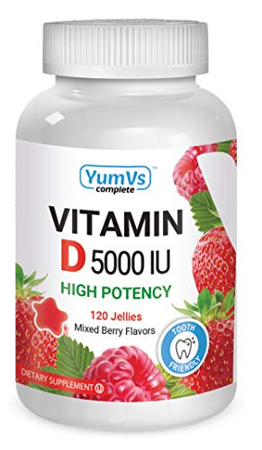 Vitamin D3 Jellies by YumV's | Vitamin D 5000 IU | Daily Dietary Supplement for Men and Women | Mixed Berry Flavor Chewable Jellies | Vegetarian, Gluten-Free, Kosher, Halal | 120 Count