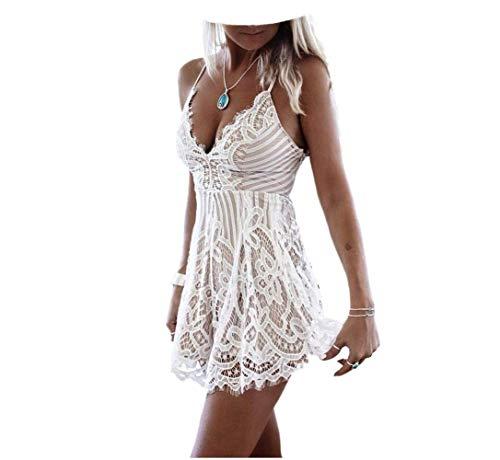 Bowanadacles Mini-Kleid für Damen, Sommer, Strand, Spitze, sexy, elegant, V-Ausschnitt, ärmellos, Schulterfrei, Weiß XL