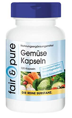 Gemüse Kapseln aus 10 Sorten Gemüse inkl. Spirulina - vegane Vitamine - natürliche Vitamine - ohne Magnesiumstearat und Siliciumdioxid - 120 Kapseln