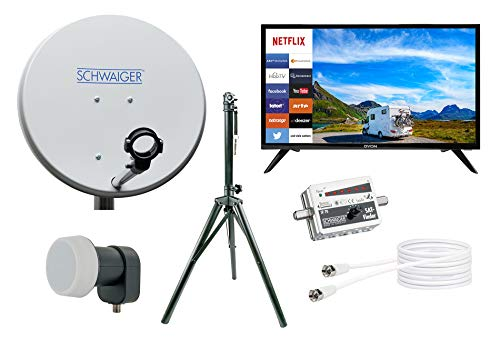 SCHWAIGER -TVSET3- Camping-Sat-Anlage digital komplett/Camping Satellitenschüssel/Smart TV 24