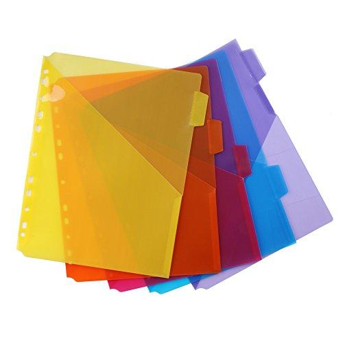 Eagle Single Pocket Plastic Divider, Letter Size, 5 Multi-Color Tabs, Built-in Name Tab Pocket, Fits for Standard 3-Ring Binders