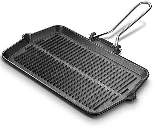 De hierro fundido, parrilla rectangular para parrilla con asa plegable para encimera de fácil agarre | Uso a fuego abierto en la cocina de inducción del horno, color negro