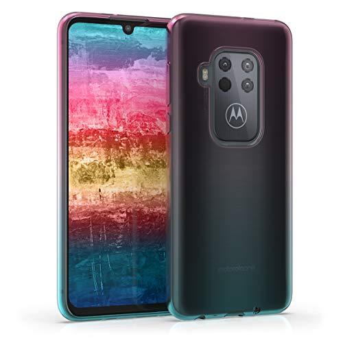 kwmobile Hülle kompatibel mit Motorola One Zoom - Handyhülle - Handy Hülle Zwei Farben Pink Blau Transparent