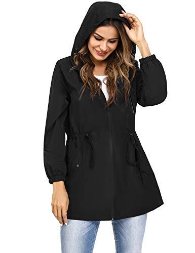 Irevial Rain Coats for Women Waterproof with Hood, Ladies Long Sleeve Zipper Raincoat Lightweight Jackets Side Pockets Windbreaker Casual Outdoor Tops Black L