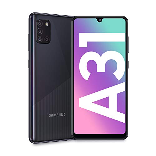 "Samsung Galaxy A31, Smartphone, Display 6.4"" Full HD+ Super AMOLED, 4 Fotocamere Posteriori, 64 GB Espandibili, RAM 4 GB, Batteria 5000 mAh, 4G, Dual Sim, Android 10, 185 g, [Versione Italiana], Nero"
