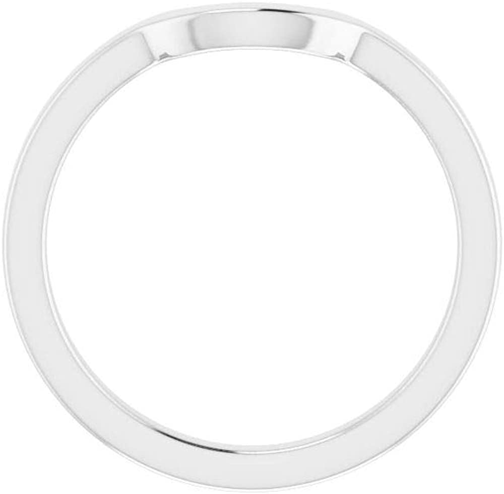 Solid 14K White Gold Curved Notched Wedding Band for 8 x 6mm Oval Ring Guard Enhancer - Size 7
