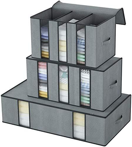 DIMJ Juego de 3 Bolsa de Almacenamiento de Ropa Plegable con Compartimento Organizador de Armarios de Ropa con Ventana Transparente Bolsas para Guardar Ropa Toallas Mantas