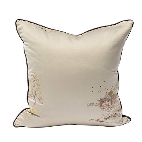 LLWYH Fundas para Cojines De Almohada Funda De Cojín Decorativa Cuadrada Beige para Sofá De Dormitorio De Satén (Patrón Aleatorio) 50x50 cm (Sin Núcleo)