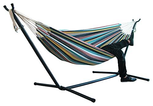 SHUYANshiyu 200 * 150 cm Interior/al Aire Libre Camping Hamaca con Stand Colgando Silla Duradera Comodidad Gruesa Lienzo Raya Hamaca sillas Colgantes (Color : Color 3)