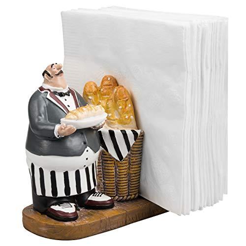 Tabletop 5 x 5 inch Resin Chef & Baguette Design Figurine Decorative Napkin Holder