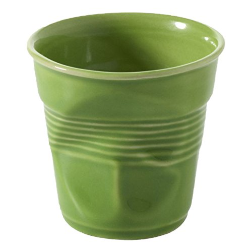 Revol RV640680 Tasse Cappuccino Froissé, Porcelaine, Vert Lime, 8,5 x 8,5 x 8,5 cm