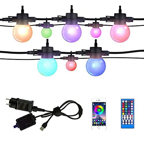 Elrigs Lichterkette Außen Innen, IP65 LED Lichterketten, 8M 10er dimmbare G45 RGB Lampen, Steuerung per Fernbedienung oder App, verlängerbar bis 10M oder 20M, Steckdose oder 5V USB Stromversorgung