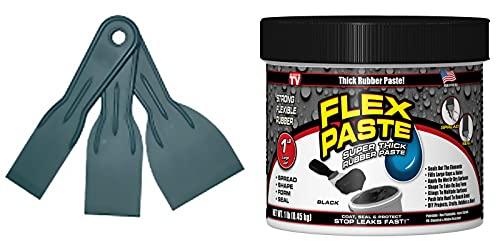 Flex Seal Flex Black Paste 1lb Jar with Allway Tools Putty 3-Pack Knives Bundle (2 Items)