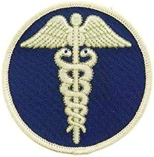 Medic, Caduceus - Novelty Patches, Sew On Iron On Patch, Blu/Wht - 3