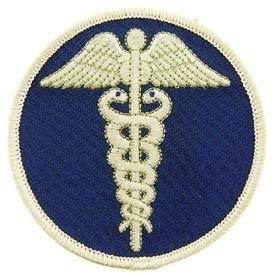Medic, Caduceus - Novelty Patches, Sew On Iron On Patch, Blu/Wht - 3'